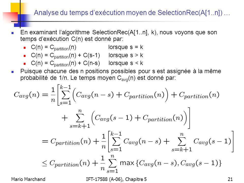 Analyse du temps d'exécution moyen de SelectionRec(A[1..n]) …